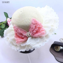 2018 Fashion Summer Hats For Children Bud Silk Lace Sun Pearl Rose Bow Straw 6 Colors