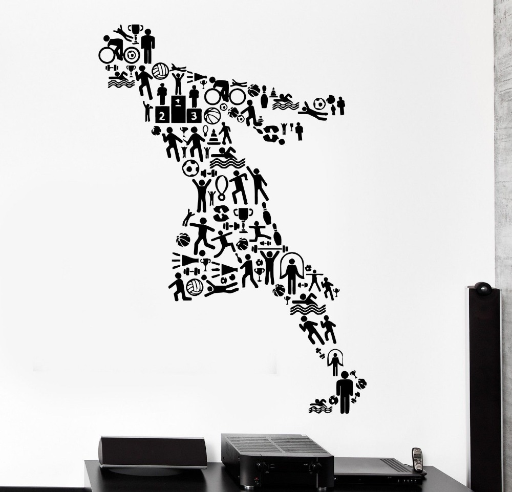 Fitness Vinyl Wall Decal Sport Running Jogging Runner ...