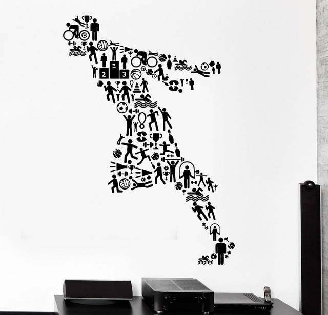 Fitness Vinyl Wall Decal Sport Running Jogging Runner Football Activity  Mural Art Wall Sticker Bedroom Gym Part 98