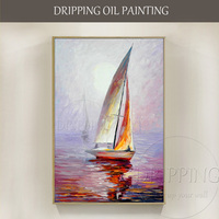 Artist Hand painted High Quality Modern Wall Art Boat Oil Painting on Canvas Abstract Landscape Boat Oil Painting for Office