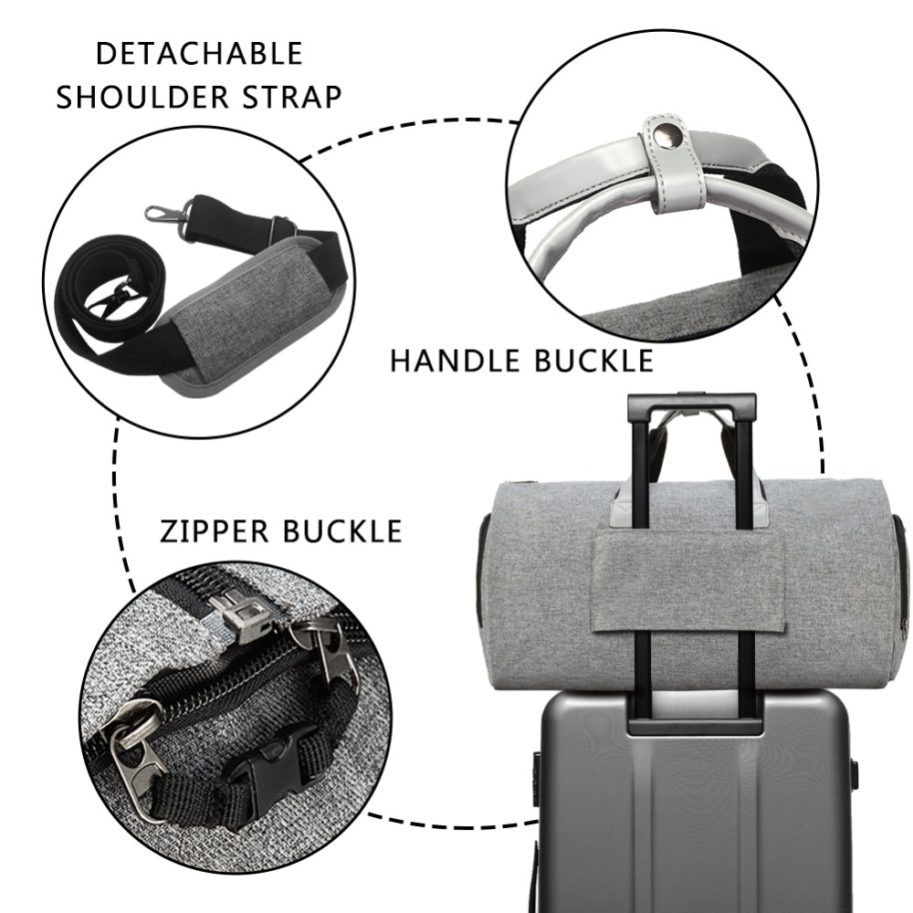 Modoker Garment Travel Bag with Shoulder Strap Duffel Bag Carry on Hanging Suitcase Clothing Business Bags Multiple Pockets Grey