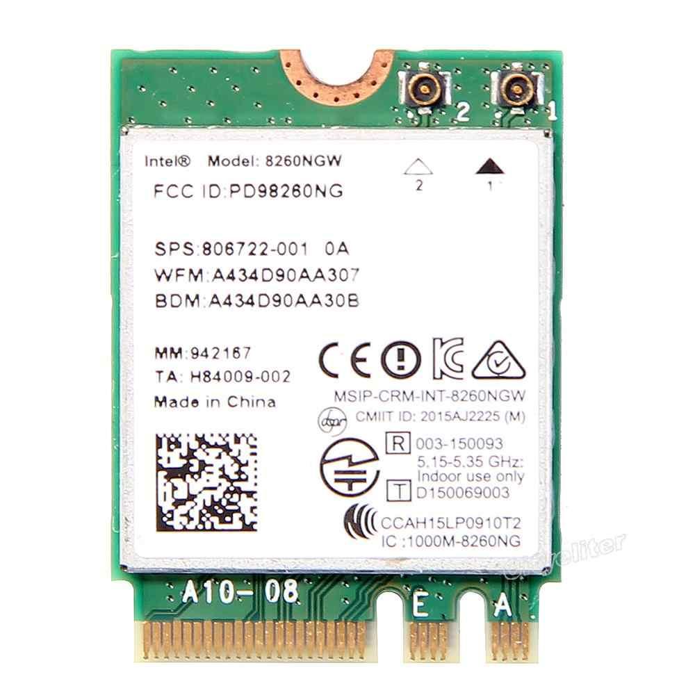 להקה כפולה אלחוטי-AC 8260 NGFF 802.11ac intel 8260NGW Wifi כרטיס 867 Mbps 2.4 גרם/5 ghz 802.11a /b/g/n/ac Bluetooth 4.2 עם אנטנה