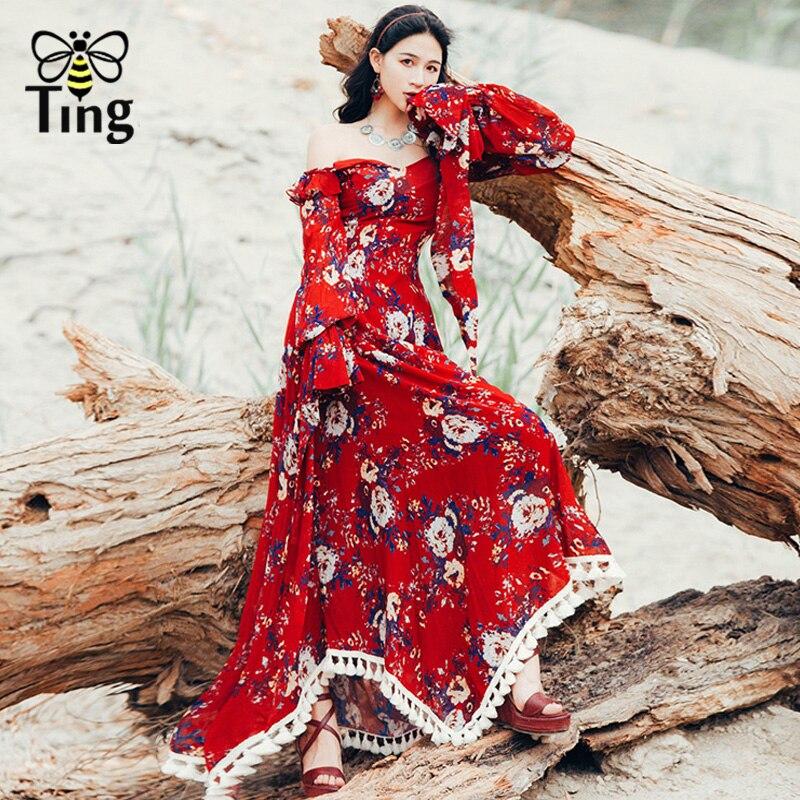 Tingfly bohème Floral Maxi robe de haute qualité en mousseline de soie volants épaule dénudée rouge imprimé longue robe gratuite gland personnes Vestidos