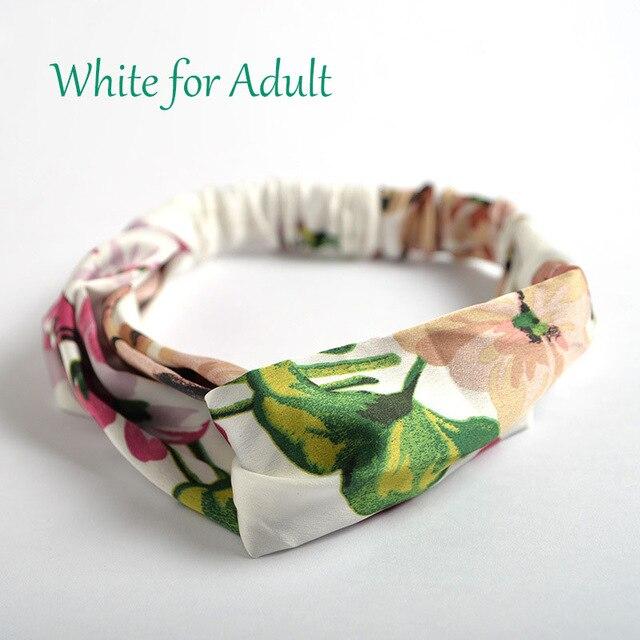 Аксессуары для волос повязки для женщин лента для новорожденных повязки на голову для девочки с цветочным рисунком Шелковый, с принтом ткань эластичная резинка для волос тюрбан с узлом - Цвет: White