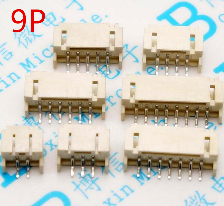 50PCS PH2.0 2.0mm Pitch Connector SMD 9P 2mm Horizontal Socket 2mm Pitch Patch Plug Connector SMT SMD
