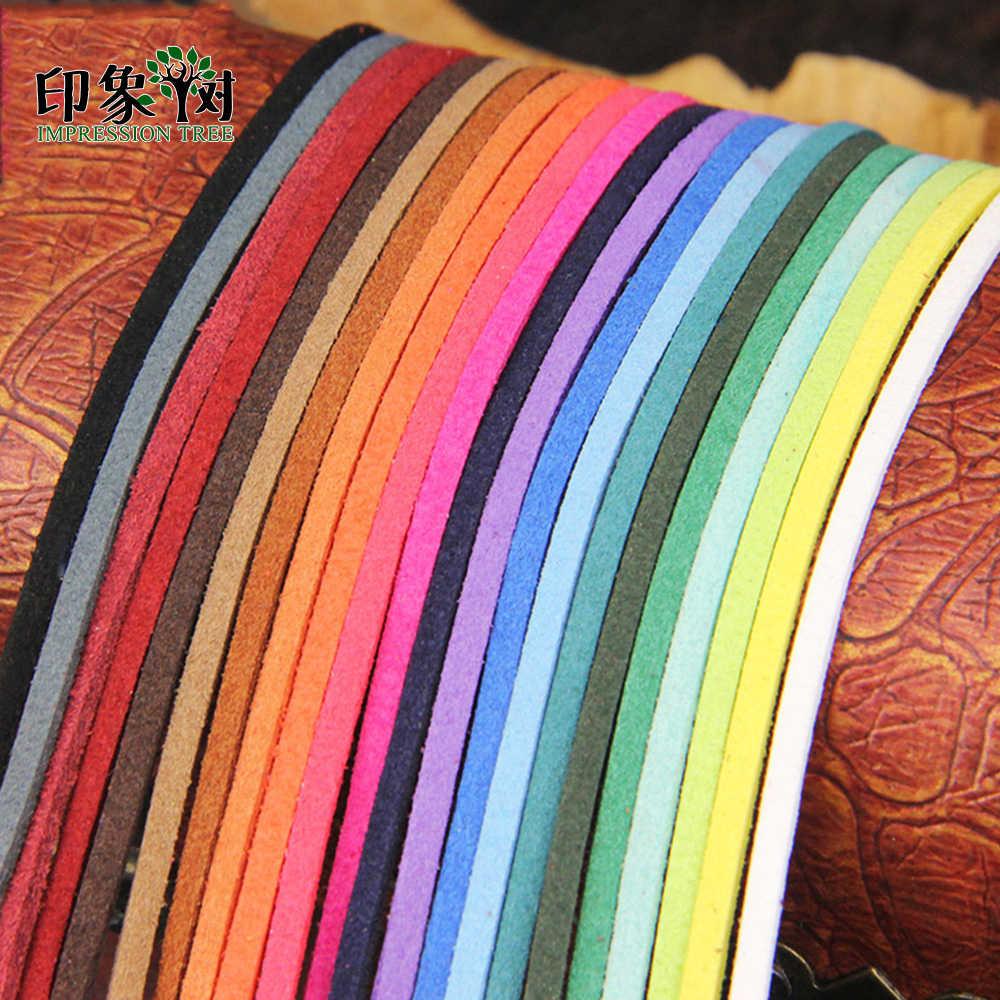 3 Mm X 1 M/Banyak Datar Faux Suede Multi Warna Beludru Korea Kulit Tali Tali Benang DIY membuat Perhiasan Dekorasi 483