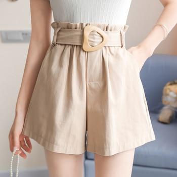 Qiukichonson High Waist Shorts Women Summer Short Pants Korean Fashion Casual Ruffle Pockets Design Black With Belt