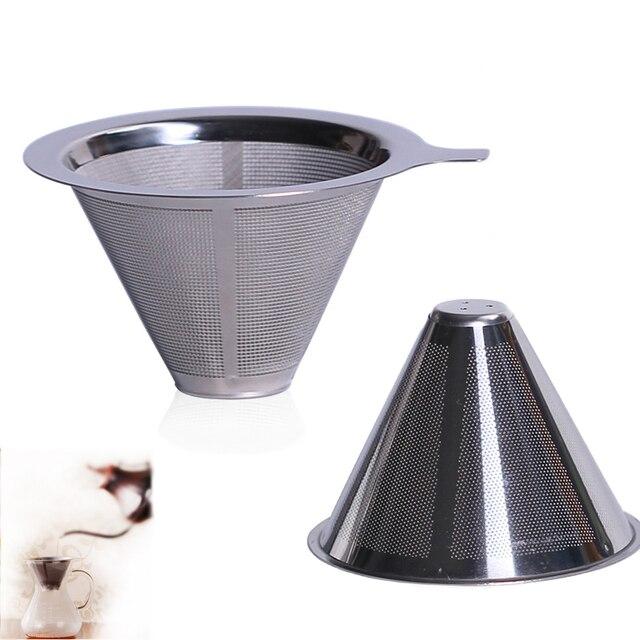 Double Layer Kopi Stainless Steel Mesh Filter Teh Multifungsi Menyeduh Pembantu Dapur Rumah Kerucut
