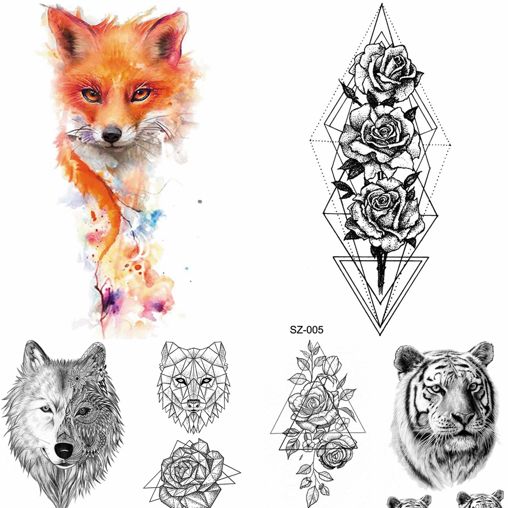 Watercolor Fox Temporary Tattoo Women Arm Art Stickers Girls Neck Geometric Flower Fake Tatoos Men Small Lion Waterproof Tattoo