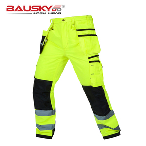 Image 2 - Bauskydd High visibility Mens multi pocket fluorescent yellow safety reflective  cargo work trousers working pant free shipping