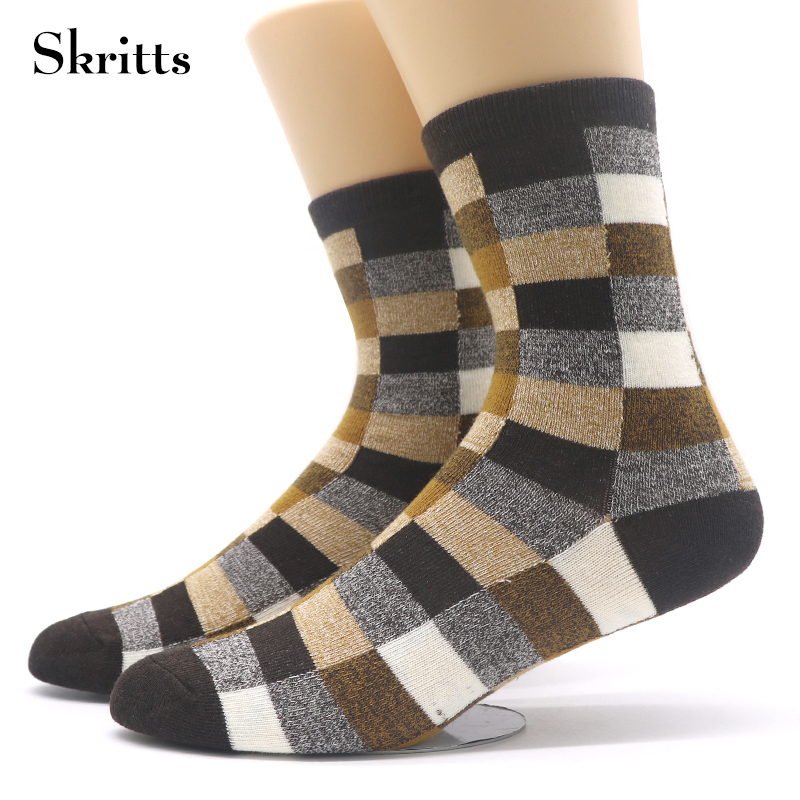 Skritts Mens Business Dress Sock Warm Autumn Winter Socks Funny Colorful Rhombus Printed Socks Short Ankle Cotton Sock 3 Pairs