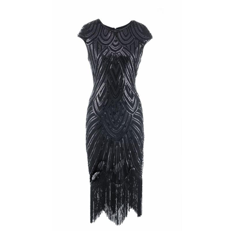 Vintage 1920s Sequin Fringe Charleston Dress Great Gatsby Sexy Women Evening Party Shining Bling Bling Tassel Dress