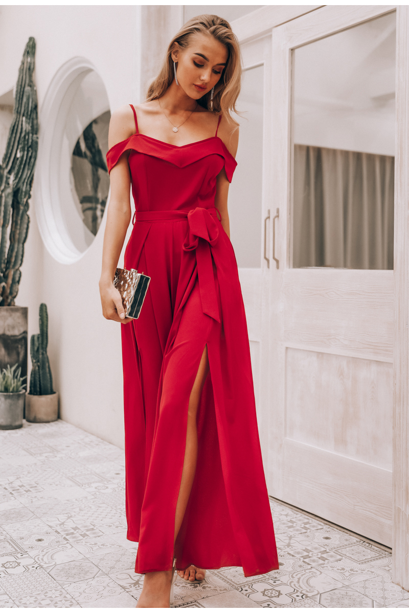 HTB1Fo3RaPDuK1Rjy1zjq6zraFXaM - Simplee Sexy off shoulder women jumpsuit romper Elegant high waist red jumpsuit long Summer wide leg lady playsuit overalls