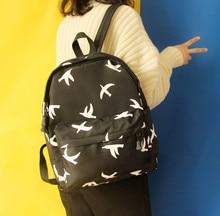Японский Корейский версия Милый Harajuku Чайка pattern Дикий Отдых способа Опрятный стиль женщина путешествия холст школьный Рюкзаки