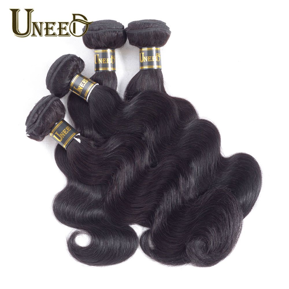 Uneed Hair Indian Body Wave Hair 4 Bundles/Lot 100% Human Hair Weave Bundles 8-28inch Remy Hair Extensions Natural Black Color