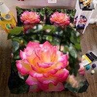2017 постельные принадлежности розовая роза постельных принадлежностей 3d постельное белье наволочки Полный/twin/Королева двуспальная кровать