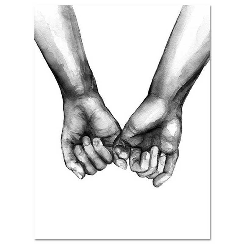 Nordic Tenendo Le Mani Dell'amante della Tela di canapa Pittura Decorativa 1PC Per Soggiorno di Arte Della Parete in Bianco E Nero Senza Cornice Poster