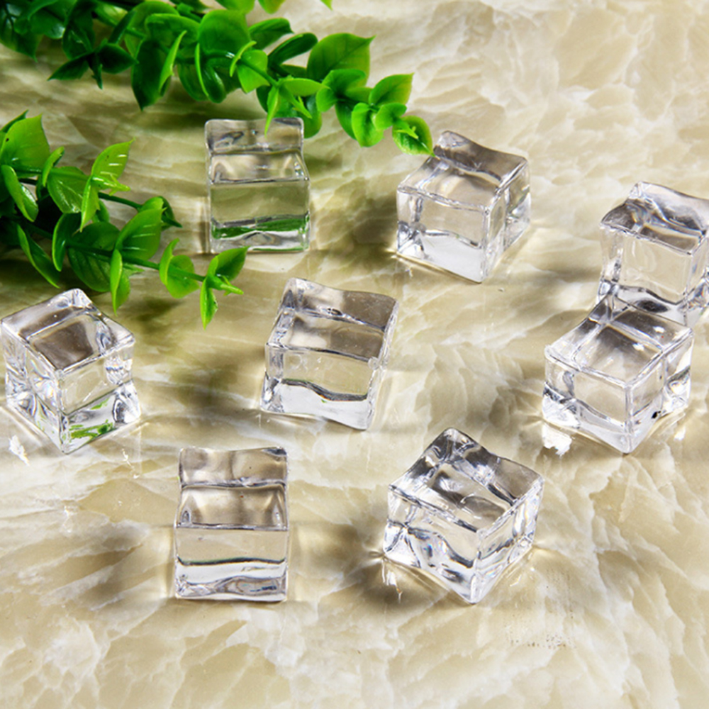 25mm 5pcs Reusable Fake Ice Cubes Artificial Acrylic Crystal Cubes Wedding Party Decor Whisky Drinks Display Photography Props