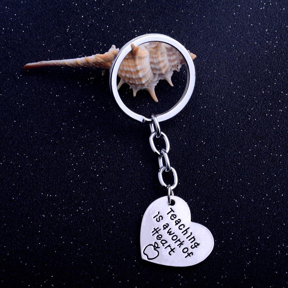 Bespmosp 12PC/Lot Apple Heart Pendant Keychain Keyring Teaching Is A Work Of HeartCharm Jewelry Teachers Day Fashion Gifts