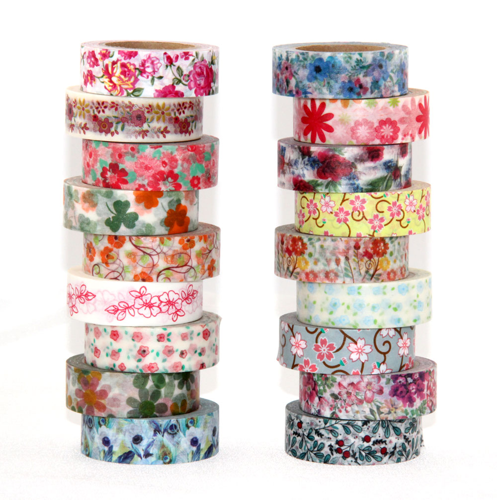 15mm*10m Fresh Floral washi tape DIY decorative scrapbooking masking tape adhesive label sticker tape stationery cherry blossoms adhesive tape flowers floral set scrapbooking paper diy sticker decorative masking japanese washi tape lot 10m