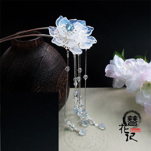 White Czech Crystal Petal Handmade Classical Hair Sticks Hanfu Costume Accessories Long Tassel Hair Stick pink crystal double layer classical hair stick vintage hair accessory hair stick hanfu hair accessory