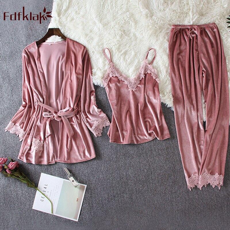 Fdfklak Sexy 3 pieces   pajamas   for women long sleeve winter pyjama suit gold velvet warm   pajama     set   sweet lace sleepwear clothes