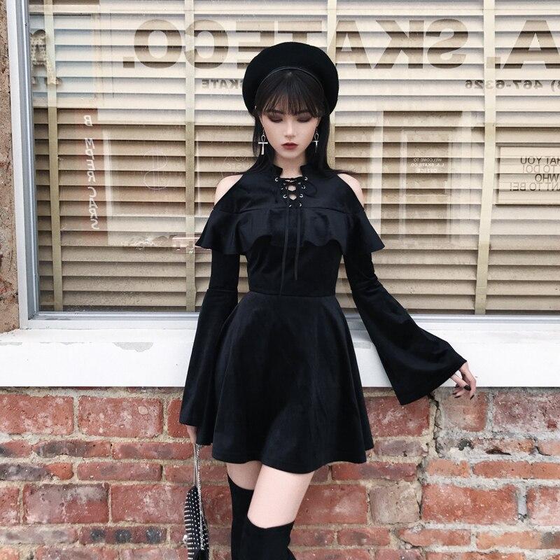 Goth noir foncé gothique robe plissée Mini robe à manches longues a-ligne Sexy Punk Rock robe d'été