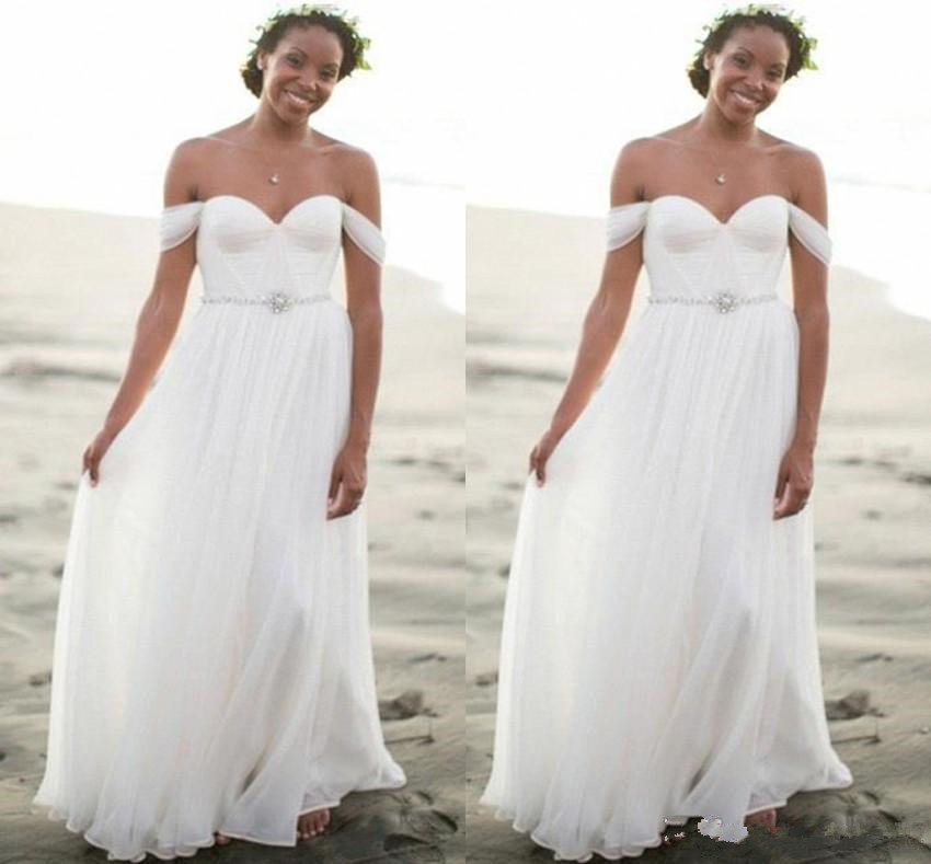 Cheap Summer Bohemian Beach Wedding Dresses 2019 Off the Shoulder Pleats Long Bridal Gowns Plus vestido de noiva wedding dress in Wedding Dresses from Weddings Events