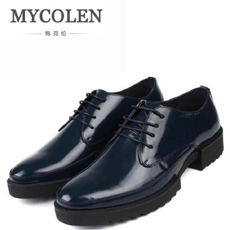 MYCOLEN Men Leather Shoes High Quality Men Shoes Lace Up Brand Shoes Men Pointed Toe Derby Shoes Men Navy Blue Tenis Masculinos dc shoes кеды dc shoes evan smith hi navy gold 9