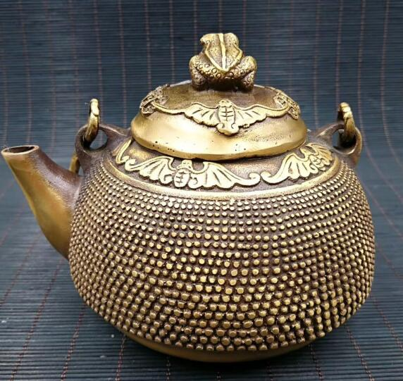 Chinese New product archaize Pure brass frog teapot Statues & Sculptures     - title=