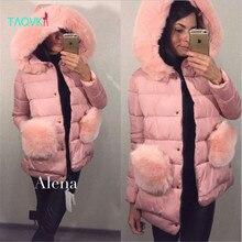 TAOVK 2016 новая мода Русский стиль Женщины Зимний пиджаки пальто 3 цвета Большой Меховой Карманный теплый капюшоном пальто