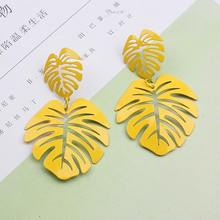 Big Gold Leaf Earrings Long 2019 Vintage Geometric Statement Earrings for Women Hollow Metal Silver Leaves Earring Green Yellow(China)