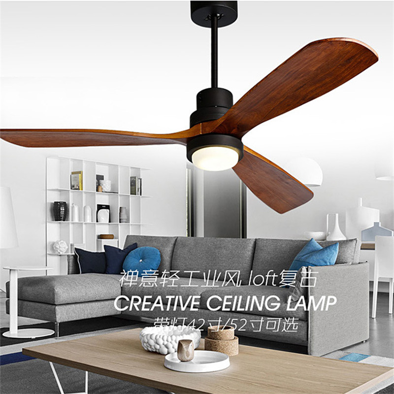 цены Nordic Retro Loft Dinning Room Ceiling Fan Light Modern Kitchen Living Room Restaurant Solid Wood Led Fan Lamp Free Shipping