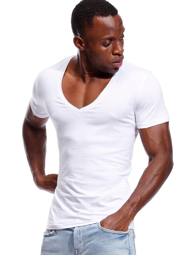 Deep V Neck T Shirt For Men Low Cut Vneck Wide Vee Tee Male Tshirt Invisible Undershirt Model Scoop Hem Slim Fit Short Sleeve
