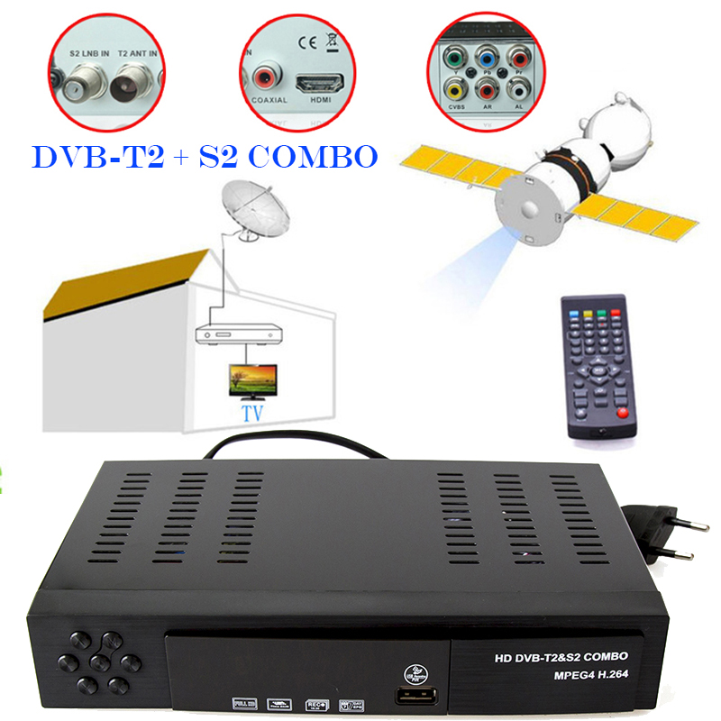 Digital Terrestrial Satellite Receiver Combo DVB T2 S2 TV Tuner Receivable MPEG4 DVB-T2 TV Receiver HD 1080P For RUSSIA Receptor car dvb t2 digital tv receiver double tuner usb hdmi for russia thailand columbia indonesia singapore speed up to 160 180km h