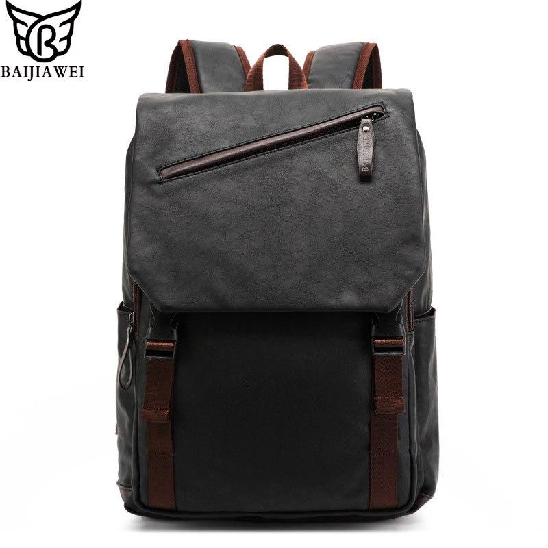 BAIJIAWEI 2017 Oil Wax Leather Backpack Men's Casual & Travel Bags Leather Laptop Bag College Style Backpacks Mochila Zip Men baijiawei fashion design men oil wax leather backpack men s school backpack