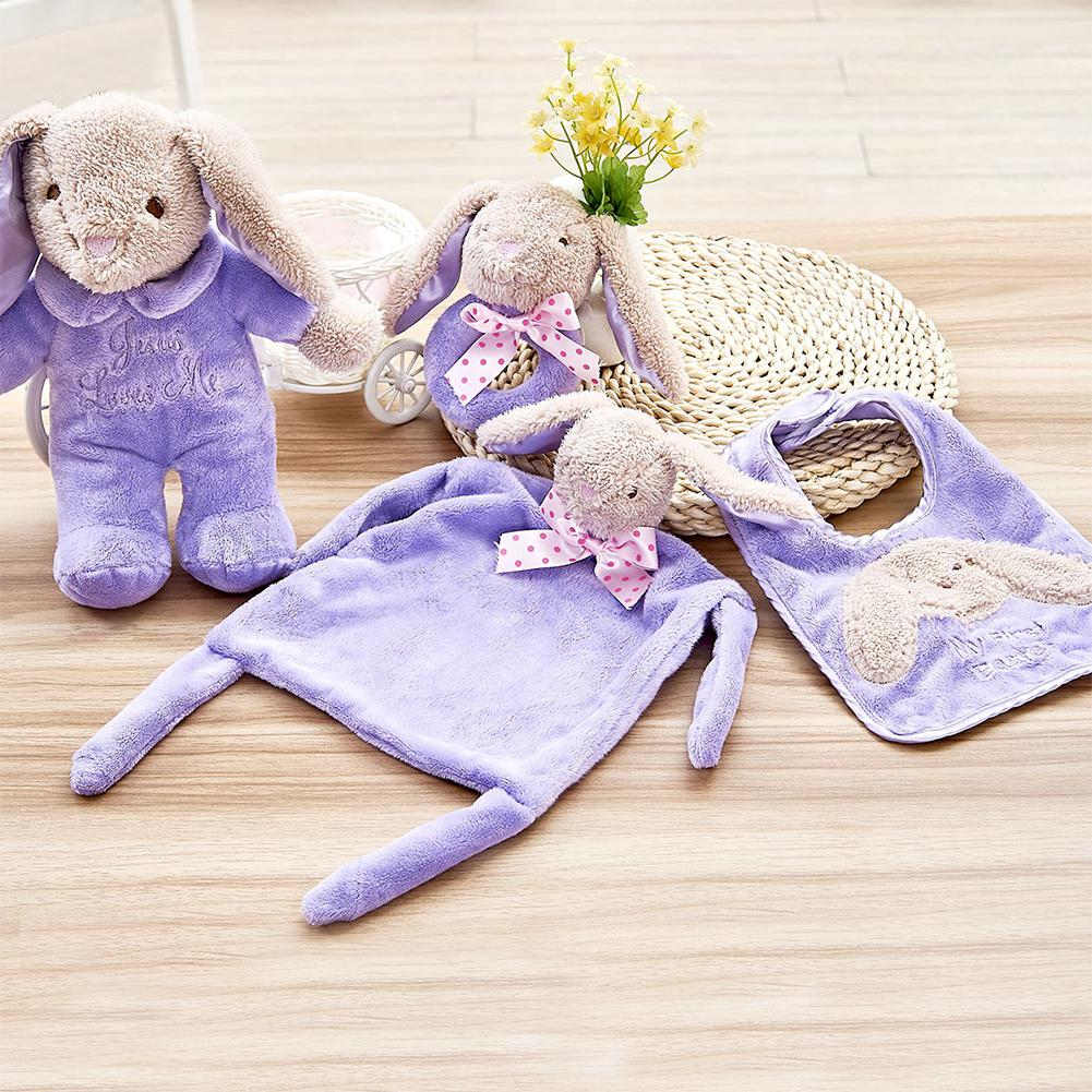 RCtown 4pcs/set Cute Baby Kids Plush Hand Shaking Rattle Bell + Bib + Hand Towel + Music Rabbit Toy zk30 ...