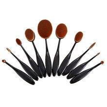 10 UNIDS Pro Maquillaje Cosmético Del cepillo de Dientes En Forma de Polvos de Cejas Fundación Face Cepillos Delineador de Labios Crema Ovalada Puff Herramientas de Belleza establecidos