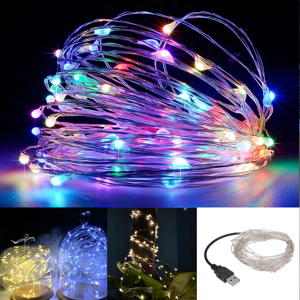 Led String Lights Usb : 5V USB LED String Light 5M 50LED 10M 100LED Silver Wire Outdoor Christmas Fairy Lights LED ...