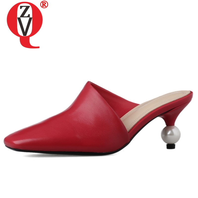 ZVQ woman slippers fashion genuine leather outside shoes pointed toe women Solid yellow red black white high heels mules shoes-in Slippers from Shoes    1