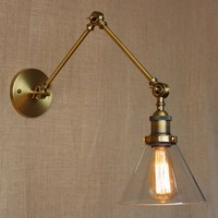 Industrial Style Antique Rust Iron Glass Wall Lamp Swing Arm Wall Lighting For Workroom Bathroom Vanity