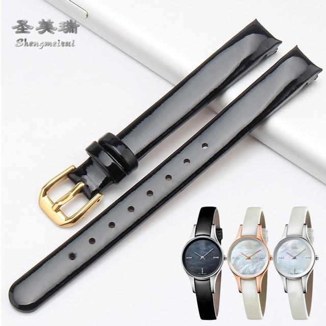 10mm Cuero auténtico correa para Calvin Klein doblada pulsera negro marrón  azul blanco para af152cd88a85