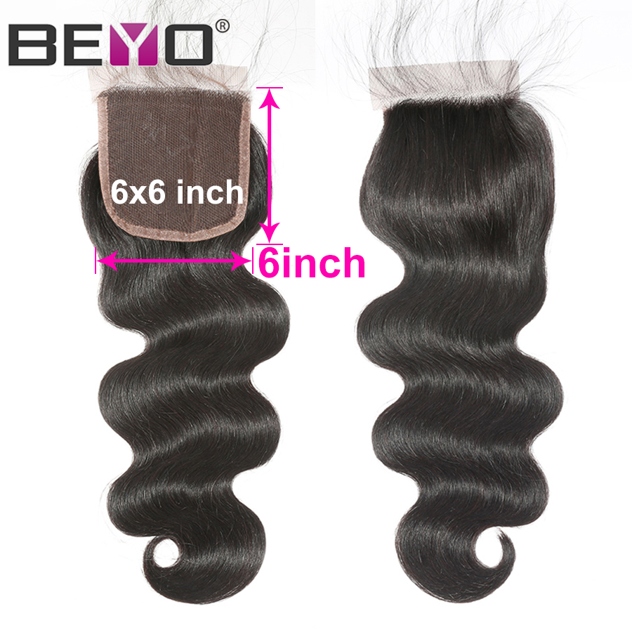 Pre Plucked Body Wave 6x6 Lace Closure Brazilian Hair Middle Part Human Hair Closure Free Part Closure Non Remy Beyo Hair