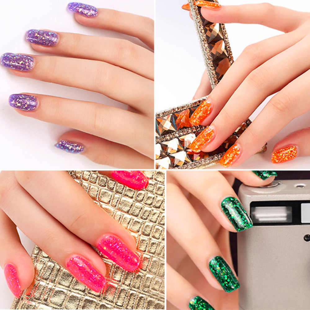 1 шт. 8 мл; Гель-лак для ногтей Блеск порошок клей Блестящий лак для ногтей мерцающий УФ гель блеск бриллиант блестки маникюрный лак 24 цвета