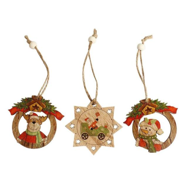 2pc christmas wood chip tree ornaments xmas hanging pendant decoration gifts natal decora o christmas tree - Christmas Hanging Decorations