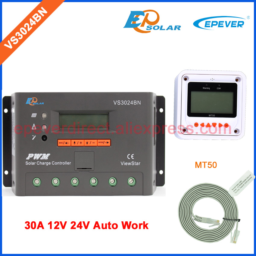 30A 24v voltage 12v automatic work solar panel system EPEVER Solar Charger regulator with MT50 remote meter VS3024BN 24v 30amp epsolar epever new series solar controller vs3024bn charger lcd display 30a 12v 24v auto work