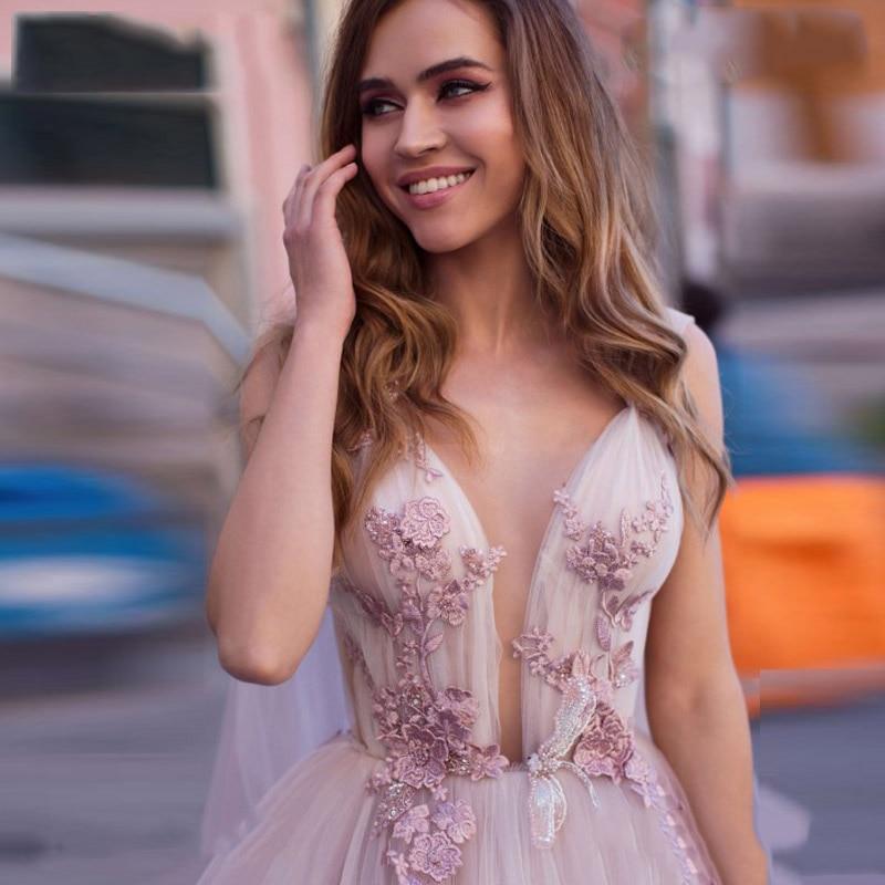 Boho Wedding Dress 2019 3D Flowers Light Purple Beach Bride Dresses Backless Puff Tulle Wedding Gowns Long Train Floor Length in Wedding Dresses from Weddings Events