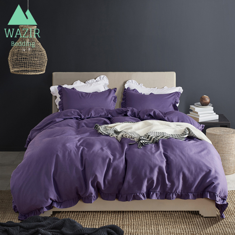 WAZIR Plain colour Simple style 3pcs US Szie bedding queen king set cover Pillowcases Quilt cover bedroom decor bedclothes beds in Bedding Sets from Home Garden