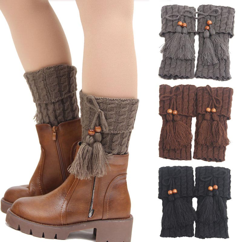 Autumn And Winter Brand New Leg Warmers 2016 Fashion Women Bohemia Bow Knot Tassels Stretch Boot Cuffs Keen short Socks 65BA150