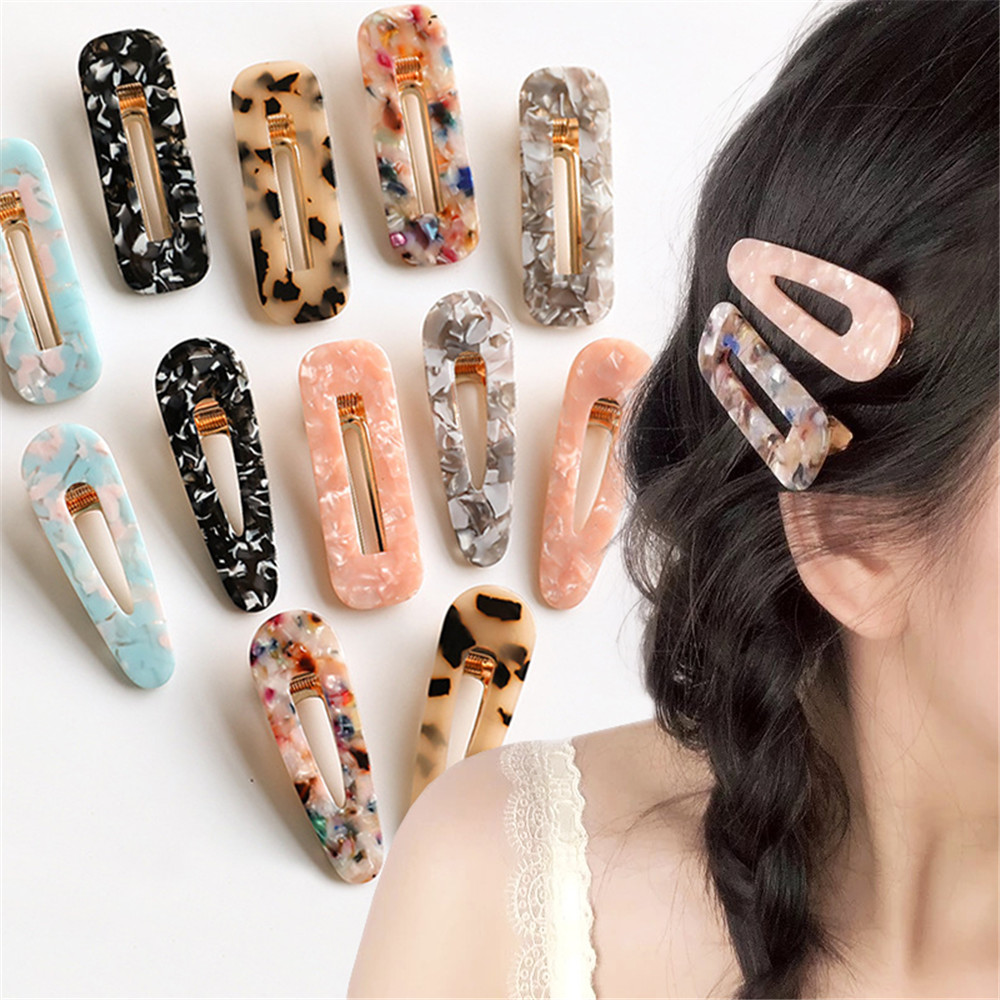 Women Girls Japanese Style Side Hair Clip Hollow Geometric Water Drop Shape Duckbill Hairgrips Colored Marble Textured Printed